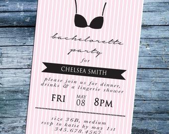 Bachelorette Invitation Pink & White Stripes Lingerie Party 5x7 Printable