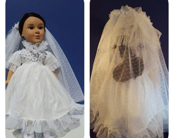 18 inch Doll Wedding Dress & Veil
