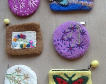 Six Felt Coin Purses