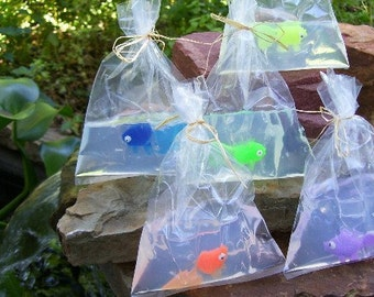 6 Pack Fish in a Bag Soap 4 oz - Fun Kids Hand or Bath Soap - Boys Girls Birthday Party, Goldfish Soap - Priority Mail Shipping