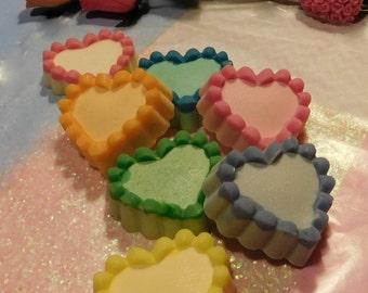 Sparkly Heart Soap - 2 oz - Valentine Sweetheart, Choice Color & Scent - Guest Bath Soap, Party Favor