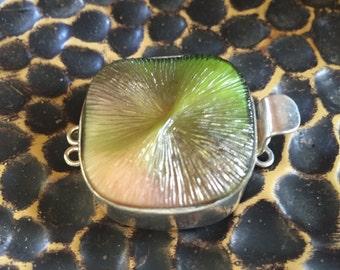 Vintage Green/Peach Czech Glass Clasp
