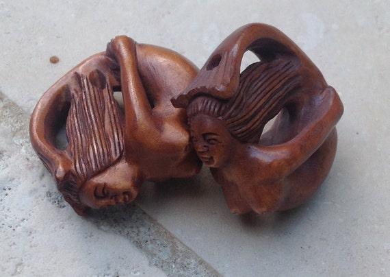 Hand carved boxwood ojime bead mermaid