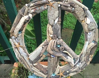 """Peace Sign Driftwood 16"""""""