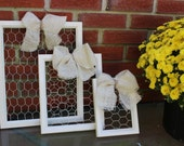 Chicken Wire Wood Frame, Burlap Bow, Handmade, Organize and Decorate - Ivory Memo Board, Rustic Jewelry Display