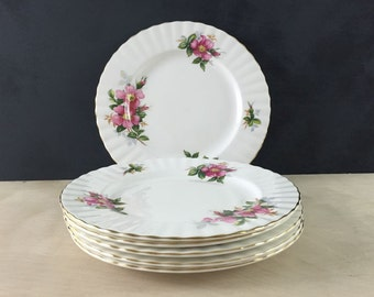 Set of Six Royal Albert Dessert Plates // Prairie Rose