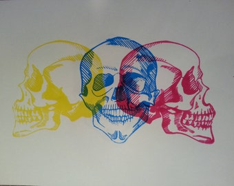 Thought Process. Colourful skulls, handmade, artwork, original, screen print