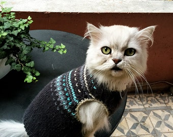 Handmade knitting dog clothes, Cat sweater with pattern, Grey dog sweater, Knitting clothes for cats , Small dog sweater, Puppies wear