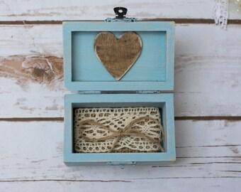 Ring Box Wedding Aqua Ring Bearer Rustic Ring Pillow Holder Shabby CHic