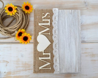 Wedding Guest Book Mr Mrs Sign GuestBook Burlap Rustic Vows Book