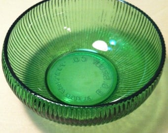 Vintage Green Ribbed Bowl by EO Brody