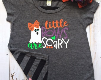Girls Vinyl Halloween Shirt - Toddler Girls Halloween Shirt - Girls Ghost Shirt - Girls Halloween Bow Ghost Shirt - Little Bows are Scary