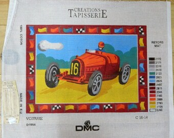 Car New Canvas, Needlepoint, Made in France, Tapestry, Unworked canvas, Sewing, Tapestries, Creations DMC Tapisserie, Voiture,