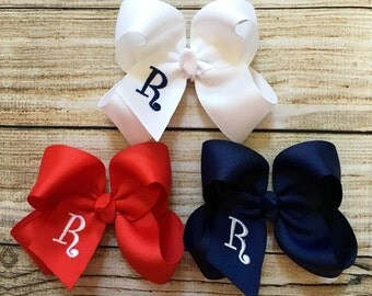 Set of 3 or 5 Medium Monogrammed Hair Bows…Personalized 4 inch Boutique Bow with Embroidered Initial…You Choose Colors!!