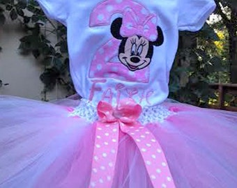 Pink Minnie Mouse 2nd Birthday Outfit Onesie Tutu FREE Hair Bow Personalized
