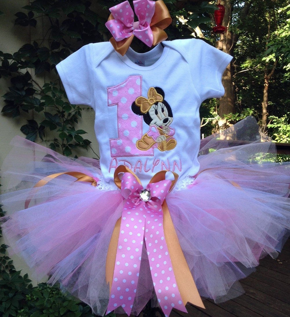 Pink Gold Baby Minnie Mouse 1st Birthday Outfit Onesie Tutu