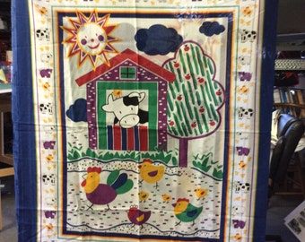 Cotton fabric  panel with a farm setting cows