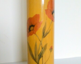 Chinese lacquered bamboo brush pot, vintage brush pot, oriental Asian hand-painted vase