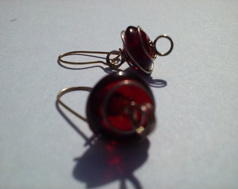 Wire Wrapped Crimson Earrings