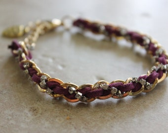 Purple Suede Chain Bracelet