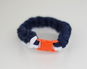 White/Navy Blue Crochet Bracelet with Mini Buckle Closure