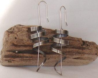Unique handmade sterling silver earrings,spiral earrings,dangle earrings, geometrical earrings, long earrings