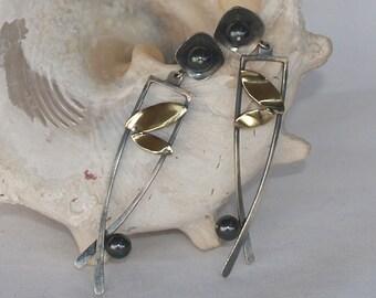 Water pearl, oxidized silver and bronze studs, gemstone handmade earrings,artistic earrings