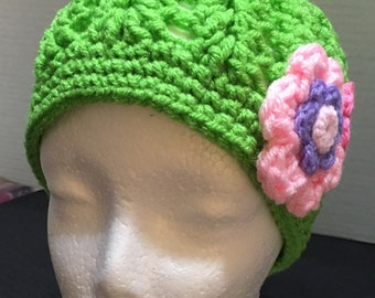 Wms Crocheted Hat, Crochet Hat Sz Lg,  Crocheted Beanie, Winter Hat, Beanie Hat with Flowers