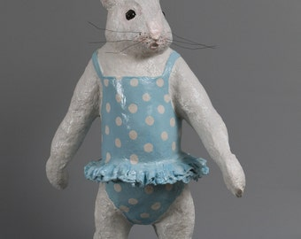 sculpture papier mache of a little girl rabbit with his swimsuit retro blue clear with white polka dots