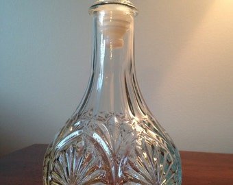 Vintage Clear Glass Decanter / Pressed Glass Liquor Bottle / Clear Glass Wine Bottle / Wine Decanter