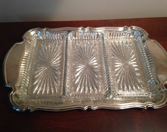 Vintage Silver Serving Tray with Glass Inserts / Antique Glass & Silver Relish Tray / Wedding Accessory / Silver Platter / Jewelry Tray