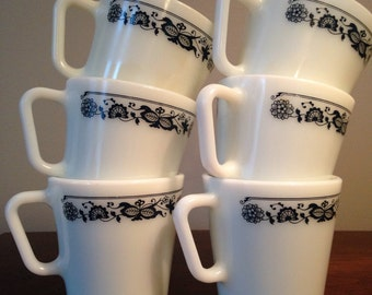 Milk Glass Pyrex Coffee Mugs - Set of 6 / Corelle Old Town Blue Coffee Cups