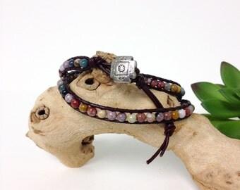 Handmade Double Wrap Ocean Jasper Brown Leather Bracelet (M022)