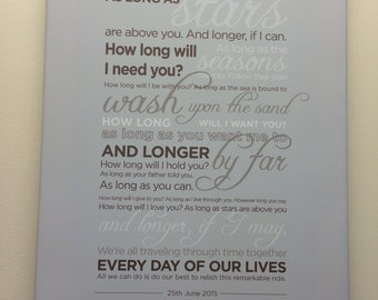 How Long Will I Love You Personalised Canvas