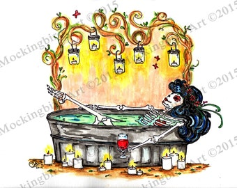"""Day of the Dead bathing beauty with wine and candles dia de los muertos  art  4.25"""" x 5"""" notecard or 8 x 10 matted print"""