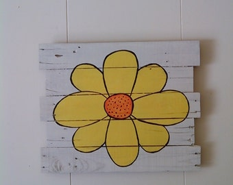 Sunflower painting wall art on pallet wood