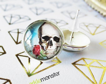 Skull and Rose - silver stud earrings, 12 mm glass dome, faux plugs, skeleton