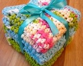 """CROCHET DISHCLOTHS 100% Cotton in Green, Duck's Egg, and White 8"""" x 8"""""""