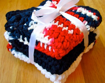 "CROCHET DISHCLOTHS 100% Cotton in Red, White and Blue 8"" x 8"""