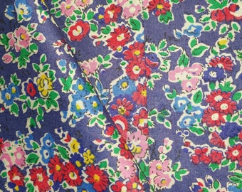 Liberty Tana Lawn, 100% Cotton Dressmaking Fabric - Tatum (F) , A Vintage Floral Print in Red and Pink on Blue