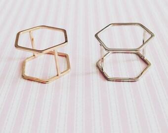 3D Hexagon Rings - Geometric Jewellery - 3D - Hexagon  - Minimalist - SALE