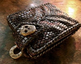 "Lizard bi-fold wallet""Forging Brass Skull Concho"""