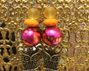 Owl Beaded Earrings
