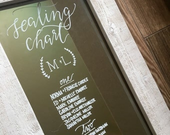 Wedding seating chart mirror