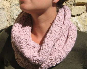 Chunky Pink Handknit Infinity Cowl Neckwarmer