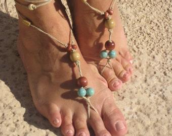 Boho style barefoot sandals