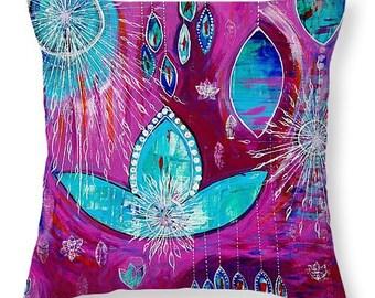 Lotus Pillow - Bright Accent Pillow - Decorative Pillow -  Home Decor - Uplifting Decor - Pink Pillow - Blue Pillow -  Meditation Cushion