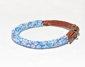 Beaches - Hand Beaded Rolled Leather Dog Collar