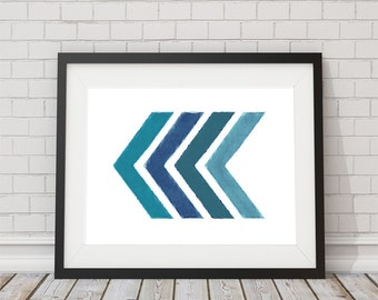 Turquoise Watercolor Chevron Arrows Print 8x10 or 11x14