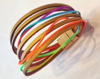 Gold/Silver/Black/White/Gold Sparkle/Silver Sparkle leather and neon cord multistrand bracelet with magnetic clasp